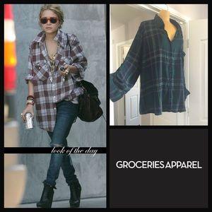 Groceries Apparel 🖤 oversized grunge plaid shirt